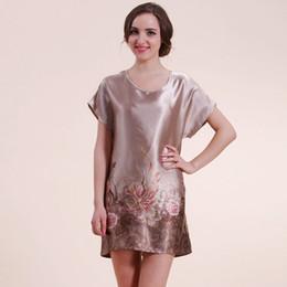 Wholesale 2016 New Floral Silk Satin Nightgown Short Sleeve Mini Night Dress For Sleep Bath Robe Sleepwear Women Pijamas Mujer C2882
