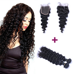 Wholesale Brazilian Hair Deep Wave Human Hair Weaves 2 bundles 200g With Free Part Lace Closure Unprocessed Natural Color Virgin Hair