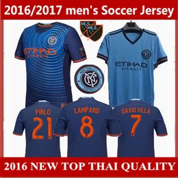 Wholesale usa size S XL New York city FC Home Soccer Jersey away DAVID VILLA LAMPARD PIRLO Football Shirt Thai quality