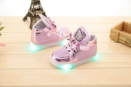 cute cartoon lightning baby shoes hello kitty flash solid shoes for 9M-6yrs baby newborn infantil outdoor causal shoes hot sale