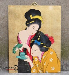 Japanese restaurant hotel restaurant decoration decorative painting Japanese ladies hanging lacquer business gifts