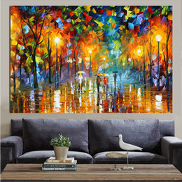 Wholesale KG Canvas Art Walking In Raining Knife Oil Painting Acrylic Modern Wall Decor For Home Kitchen