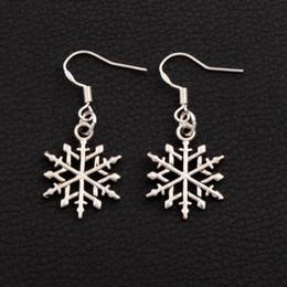 Snowflake Earrings 925 Silver Fish Ear Hook 40pairs lot Tibetan Silver Dangle E790 15.5x37.2mm