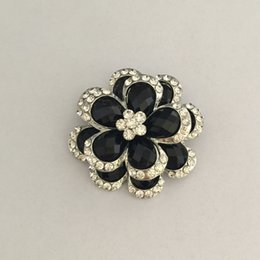 Wholesale 2016 new arrival brooches for women Alloy flowers Black rhinestone business gifts anniversary celebrations trade fairs employee benefits