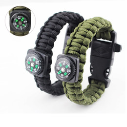 Wholesale Outdoor Camping Paracord Parachute Cord Emergency Kit Survival Bracelet Rope with Whistle Buckle Compass Flint Fire Starter