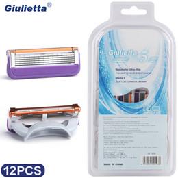 Giulietta Razor Blade Men Face Shaving 12Pcs 5 Layers Stainless Steel Blades High Quality GF1936