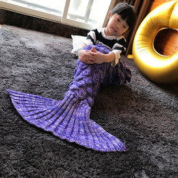 Wholesale 140 CM Thin Yarn Super Soft Blanket Bed Sleeping Handmade Crochet Mermaid Tail Anti Pilling Portable Blanket for Autum