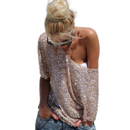 Wholesale New Fashion Women Ladies Sexy Off Shoulder Sequin Top T Shirts Party Streetwear Autumn Casual Loose Tees camiseta mujer Z1