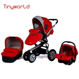 Fashion Highview Folding 3 in 1 Stroller for 0-36 months Kids, Pushchair+Sleeping Basket+Safety Car Seat, Two-way Available