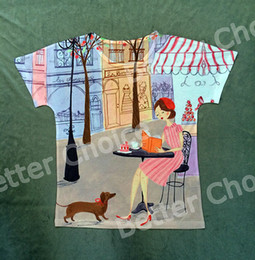 Wholesale Track Ship New Vintage Retro Fresh Hot T shirt Top Tee Agreeable Afternoon Coffee Cake Reading Book with My Dachshund Dog