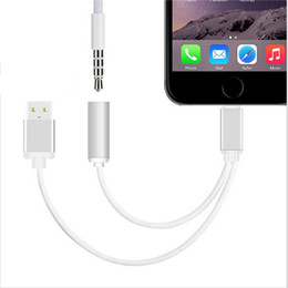 Wholesale USB Charging and Audio Adapter Connector Cable mm Female Headset Connector Cord For Iphone plus Iphone