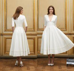 2016 Collection Short Beach Wedding Dresses with Half Sleeves Delphine Manivet A Line Sexy Deep V Neck Vintage Tea Length Bride Dress