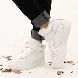 Wholesale Casual Shoes Man Version New Breathable Lace up Thick Base Men s Board Shoes Tide with Fur White Shoes Mens Shoes Casual