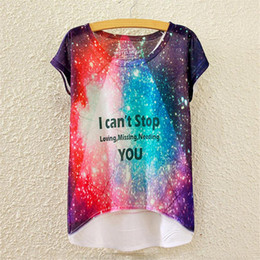 Wholesale Alisister beauty women t shirts d print space galaxy T shirt letters print loving missing needing you tees tops cuasal clothing