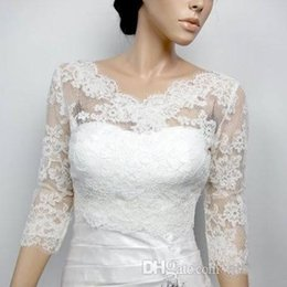 Gorgeous Lace Appliques Bridal Jacket Illusion 3 4 Long Sleeves V Neckline Buttons Up Cheap Bridal Accessories Wrap Jacket