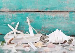 2017 fondos de verano SUSU 7x5ft (210x150cm) Fondos azules de la fotografía Fondo de la concha de la playa del verano para el estudio fotográfico recién nacido barato fondos de verano
