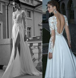 Wholesale Sexy Backless Wedding Dresses Lace Applique Split Front A Line Deep V Neck Sheer Long Sleeves Chiffon White Bridal Gowns