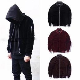 miguel velvet bomber jacke hoodies Ackermann velvet A$AP velour Jacket Hooded kanye west Haider Red Velvet sleeve Bomber Jacket