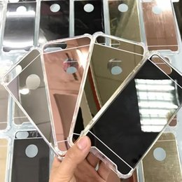 Slim air cushion mirror case for iphone 7 acrylic hard cover+tpu frame bumper shockproof cases for iphone 5 6 7 plus samsung s7 s6 huawei p9
