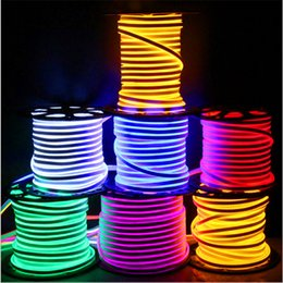 Newly LED strip lights waterproof IP65 flexible LED strip SMD2835 120 leds both side glowing high bright 8 colors neon light wholesale 50m+