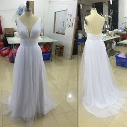 2017 Beach Wedding Dresses White Chiffon Sexy Deep V Neck Backless Bridal Gowns Spaghetti Straps A Line Cheap Simple Dress For Bride