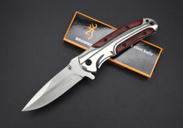 Browning DA43 Hunting Camping Pocket Knife Folding Knives 440C Drop Point Grey Titanium Blade All-Steel + Rosewood Handle