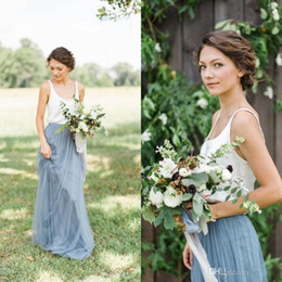 Sale Country Style 2 Piece Spaghetti Straps Bridesmaid Dresses Cheap Light Blue Scoop Long Tulle Bridesmaid Gowns Online 2017 Hot Sale