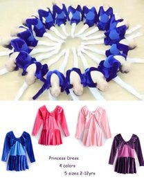 Brand New Kids Girls Long Sleeve Velour Blue Pink Purple Dance Ballet Dress Tutus Dancewear