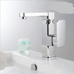 Wholesale Bathroom Sink Faucet One handle lavatory faucet Chrome finish Modern Box Mixer tap washbasin Faucets Sanitary Ware Deck Mounted Quality