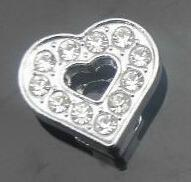 Wholesale 8mm 100pcs lot Full Rhinestones Heart Slide letters DIY Charm Accessories fit for 8mm leather wristband bracelet 0004