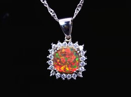 Wholesale & Retail Fashion Jewelry Fine Brown Fire Opal Stone Pendants For Women PJ17082701