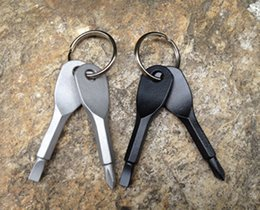 Black silver Outdoor EDC Gear Multifunctional Pocket Tool With Key Rings Keychain Mini Screwdriver Set Home Hand Tools
