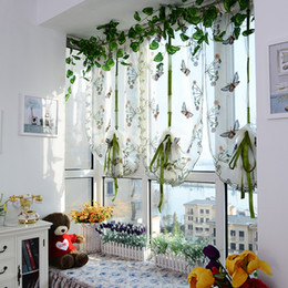 Wholesale Beaufitul Butterfly Pattern Door Roman Window Scarf Sheer Floral Curtain Panel Voile Child Baby Bedroom Decor