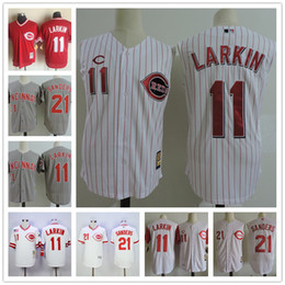 Canada Hommes Cincinnati Reds Vest Vintage Jersey # 11 Barry Larkin 21 Deion Sanders White rayures gris 1990 Throwback Stitched sleeveless Jerseys Offre