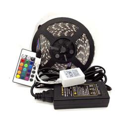 Edison2011 Waterproof 5m set 60leds m Flexible Led Strip 5050 RGB + 24 Keys IR Remote Controller +12V 5A Power Adapter