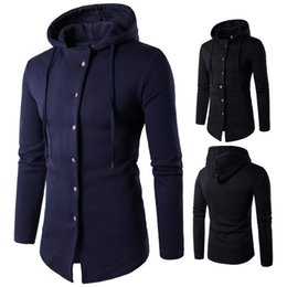 Free Shipping 2017 Autumn and Winter New Men's Six Buckle Design Hooded Sweater