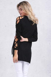 Hollow out split sweater women Sexy v neck cross sleeve knitted pullover pull femme Chic black party tops female