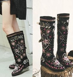 Wholesale 2016 Pure Manual National Flowers Pattern Pointed Toe Nubuck Leather Half Boots Thick heels Martin Boots Retro Embroidered shoes For Women