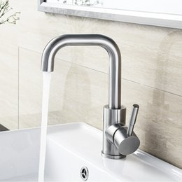 Wholesale BLH Bathroom Extended Basin Faucet Mixer Tap Modern Brushed Nickel Stainless Steel Single Tap Faucet for Counter Basin