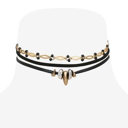 Fashion Gothic Snap Street Leather Copper Alloy Adjustable Choker Necklace Original Creative Design DIY Punk Multi Layer Choker Necklace