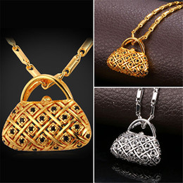U7 Lovely Handbag Pendant Necklace AAA+ Cubic Zirconia 18K Gold Platinum  Plated Fashion Women Jewelry Perfect Gift Beautiful Accessories 367aac2b2549