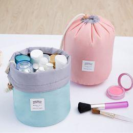 Wholesale 150 Hoomall Brand Barrel Shaped Nylon Travel Cosmetic Bag Drawstring Wash Bags Makeup Organizer Storage Bag High Capacity x23cm