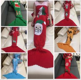 Wholesale Adult Mermaid Tail Blanket cm Christmas Snowflake Santa Elk Sofa Sleeping Bag Air Conditioner Knitted Blanket styles OOA950
