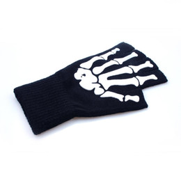 Fashion Black Cycling Fingerless Skull Gloves Dirt Bike Bicycle Motocross Off-Road Computer For Men Women Halloween Party