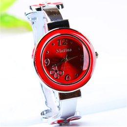 Relojes de cuarzo rojo verde en venta-Señora caliente Reloj de la pulsera aleación puntero circular tipo movimiento del cuarzo azul negro verde púrpura rosado rojo blanco elegante luz delicado extremo superior