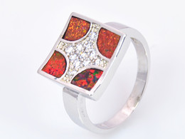 Wholesale & Retail Fashion Fine Red Fire Opal Ring 925 Silver Plated Jewelry For Women EMT1517015