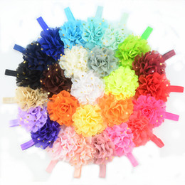 free shipping 30pcs lot baby Kids Girls Infant Polka Dot Chiffon Flower Baby Hairband Hairwear Elastic Band Accessories big flower FD229