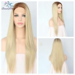 100% Brand New High Quality Fashion Picture full lace wigs>> 24''Brown To Blond straight natural long Hand Tied Synthetic Lace Front Wig