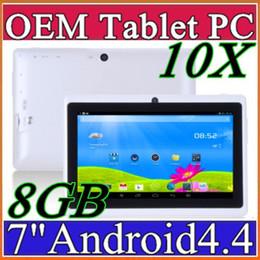 Dhl de la tableta de 8 gb en venta-10X DHL D2016 7 PC capacitiva de la tableta de la cámara del androide 4.4 de la base del patio de Allwinner A33 7GB 512MB WiFi EPAD Youtube Facebook Google A-7PB