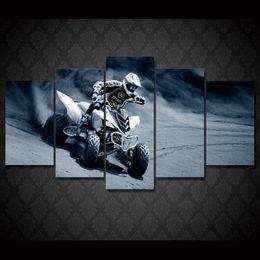2017 marcos de carreras 5 piezas / set enmarcado HD impreso moto compitiendo con deportes de arte de la pared de impresión de carteles de fotos pintura de lona moderna para habitación de niño económico marcos de carreras